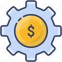 budget, finance, gear, money, online, work icon