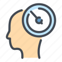 clock, dashboard, head, mind, plan, stopwatch, time icon