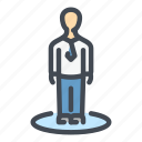 employee, human, man, person, stand, standing, user icon