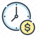 clock, coin, dollar, money, payment, time, watch icon