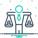 equality, equilibrium, equivalence, human balanced scale, imbalance, judgment, responsibility icon