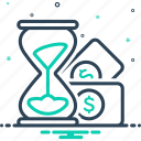 economy, hourglass, installment, money stack and sand clock, schedule, timeline, wealth
