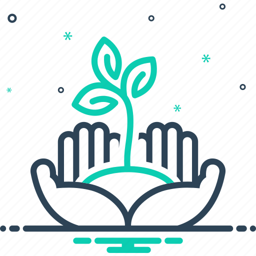 ecology, environment, flora, holding, palms, plant growing on hands palms, protection icon
