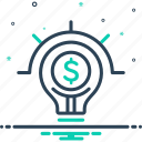 commerical, creative, idea, innovation, inspiration, lightbulb, lightbulb on with dollar sign icon