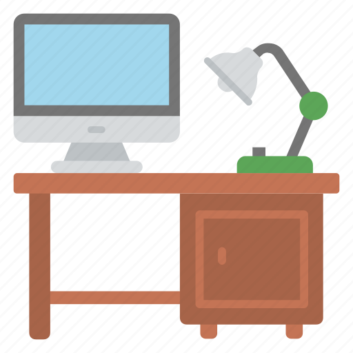 computer table, office desk, study table, work desk, workplace icon