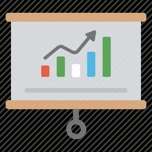 business analytics, business presentation, growth chart, statistics, whiteboard graph icon