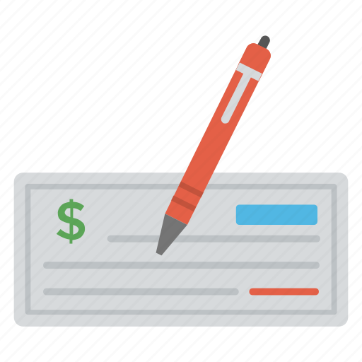 bank check, cheque book, cheque signing, paycheck, payment method icon