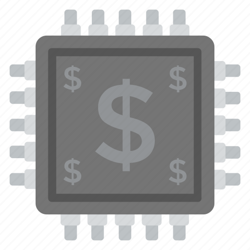 cryptocurrency, digital currency, dollar mining, electronic currency, microchip icon