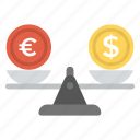 currency rate comparison, exchange rate, foreign currency, money exchange, scale with money icon