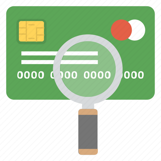 credit card investigation, credit card scanning, credit card surveillance, debit card, money inspection icon