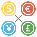 foreign exchange, forex exchange, forex trading, money exchange, open market currency icon