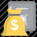 bank deposit, bank locker, bank vault, cash reserves, money sack icon
