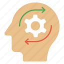 creative brain, creative thinking, headgear, intelligent management, thinking process icon