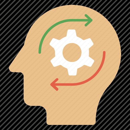 creative brain, creative thinking, headgear, intelligent management, thinking process icon