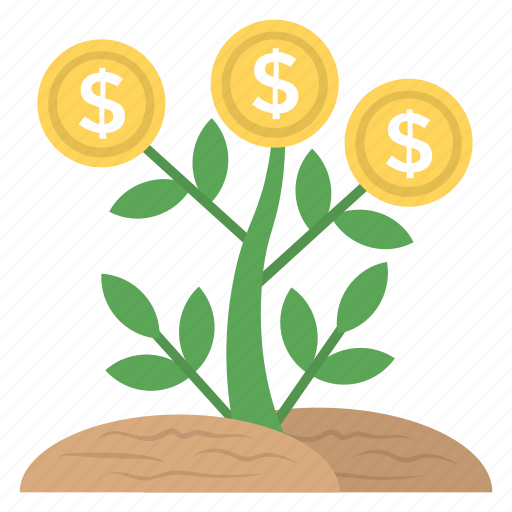 business growth, business plant, business success, dollar plant, profit icon