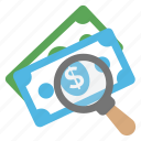 banknotes, find investment, fundraising, money making, money search icon