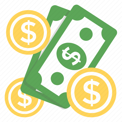 banknotes, currency, dollar coins, finance, paper money icon