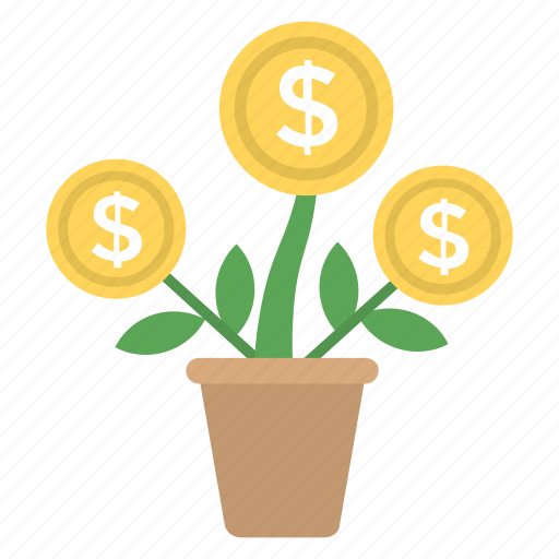 business growth, business plant, business success, dollar plant, profit icon