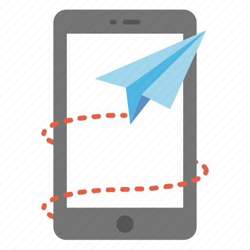 digital marketing, direct message, email marketing, paper plane around mobile phone, send mobile message icon
