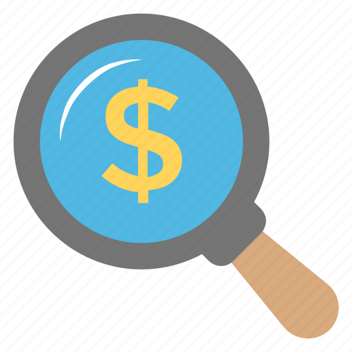 dollar, find investment, fundraising, money making, money search icon