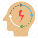 creative brain, creative thinking, intelligent management, thinking, thinking process icon