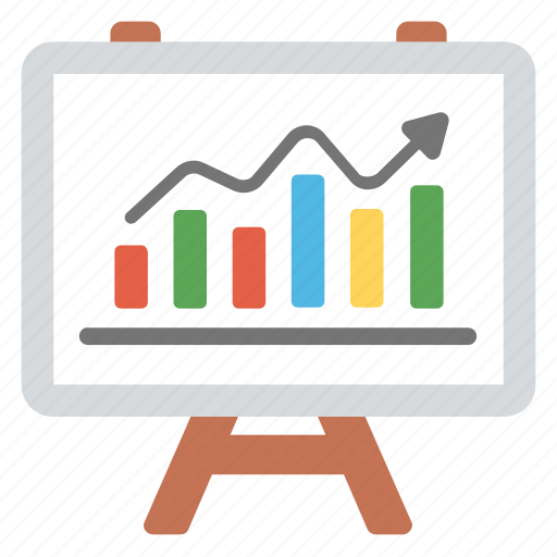 business analytics, business growth, business presentation, statistics, whiteboard graph icon