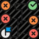 algorithm, correct, labyrinth, maze, solution, startup, way icon