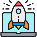 business, concept, laptop, launch, rocket, start, startup icon