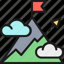 arrow, goal, hill, mount, mountain, startup, target