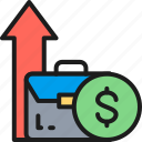 arrow, business, coin, income, increase, return, startup icon