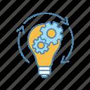 brainstorm, cogwheel, generation, idea, innovation, lightbulb, startup icon