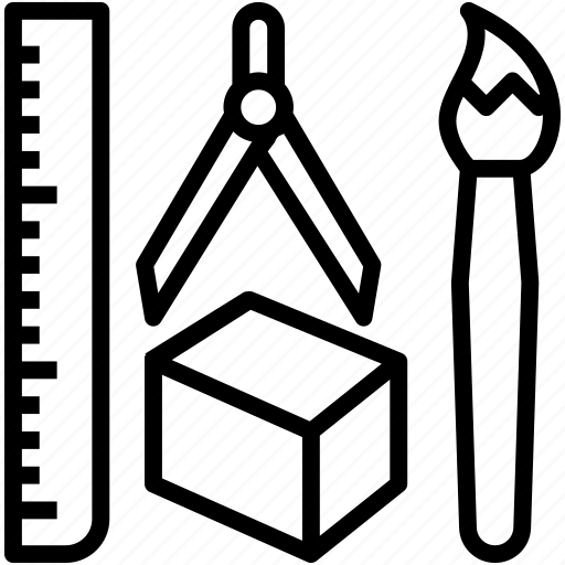 art, brush, design, ruler, tool icon