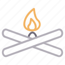 bonfire, burn, campfire, flame, wood icon