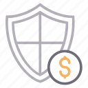 dollar, money, protection, secure, shield icon