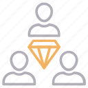 avatars, diamond, employees, group, team icon