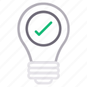 bulb, check, creative, idea, innovation icon