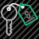 dollar, key, keychain, protection, tag icon