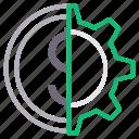 configure, dollar, money, preference, setting icon