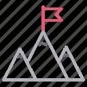 achievement, flag, goal, mountain, success icon