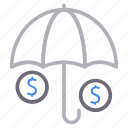 dollar, money, protection, secure, umbrella icon
