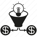 creative, idea, invest, light bulb, money icon