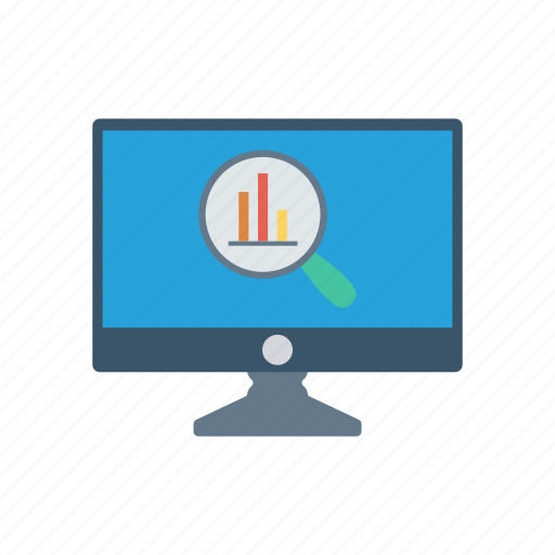 analysis, chart, graph, monitor, screen icon