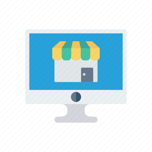 lcd, monitor, online, screen, shopping icon