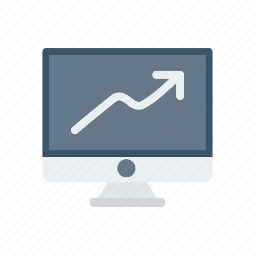 growth, lcd, monitor, pointer icon
