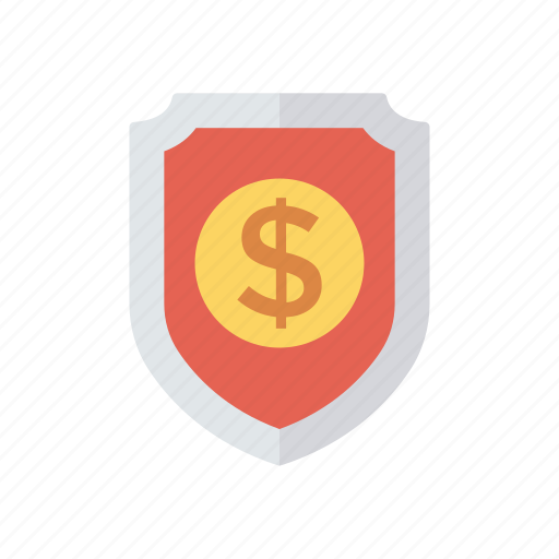 cash, dollar, protection, security, shield icon