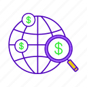commerce, crowdfunding, finance, global, magnifier, magnifying glass, search icon