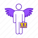 angel, briefcase, business, businessman, founder, investor, wing icon