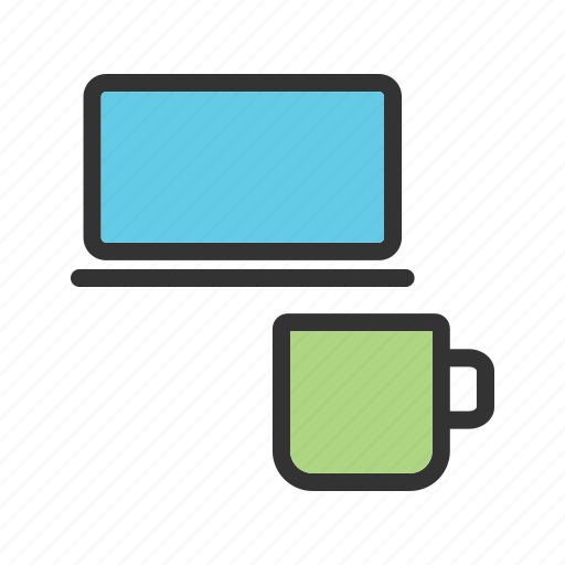 business, coffee, cup, home, laptop, office, work icon