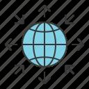 arrow, globe, seo, startup icon