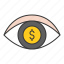 eye, money, startup, vision icon